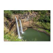 Wailua Falls Kauai by Pierre Leclerc, 16x24-Inch Canvas Wall Art