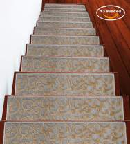 Stair Treads Leaves Collection Contemporary, Cozy, Vibrant and Soft Stair Treads, 9'' x 28'', Beige, Pack of 13 [100% Polypropylene] Tape Applied