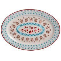 Gibson Home 102310.01RM General Store Hollydale 14 Inch Hand Painted Durastone Platter, White