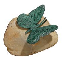 Design Toscano MP7488 Emerald Verde Butterfly on Rock Statue, Verdigris