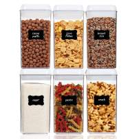 Airtight Food Storage Containers, Vtopmart 6 Pieces Medium BPA Free Plastic Canister with Easy Lock Lids, for Kitchen Pantry Organization and Storage, Include 24 Labels