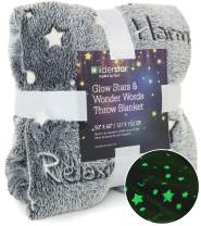 "LIDERSTAR Glow in The Dark Throw Blanket,Super Soft Fuzzy Fluffy Plush Fleece,Decorated with Stars and Words of Healing, Valentines Day Birthday Gift for Girls Boys Kids Teens Toddler, Gray,50""x 60"""