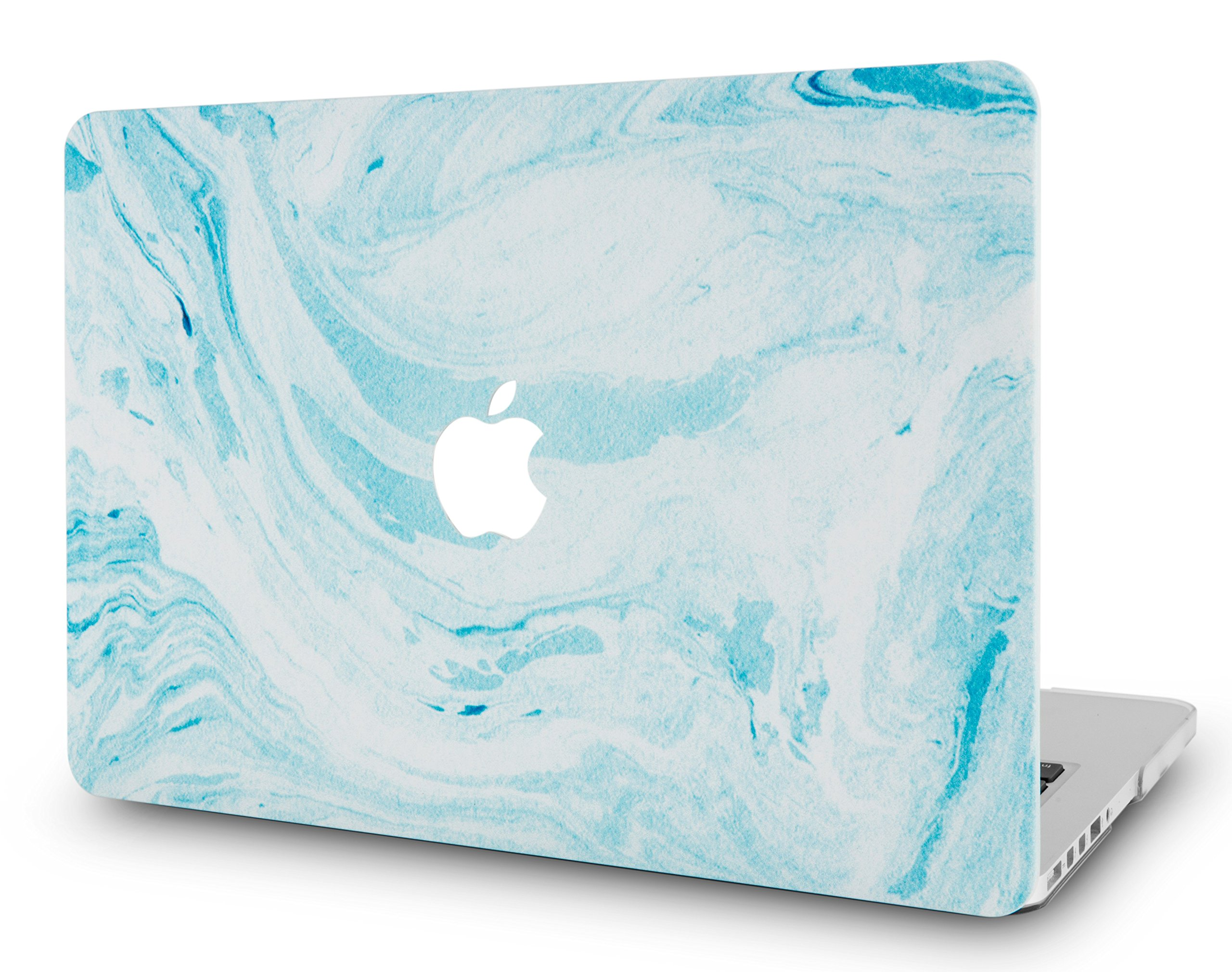 LuvCaseLaptopCaseforMacBookAir 13 Inch A1466 / A1369 (No Touch ID)RubberizedPlasticHardShellCover (Blue White Marble 1)