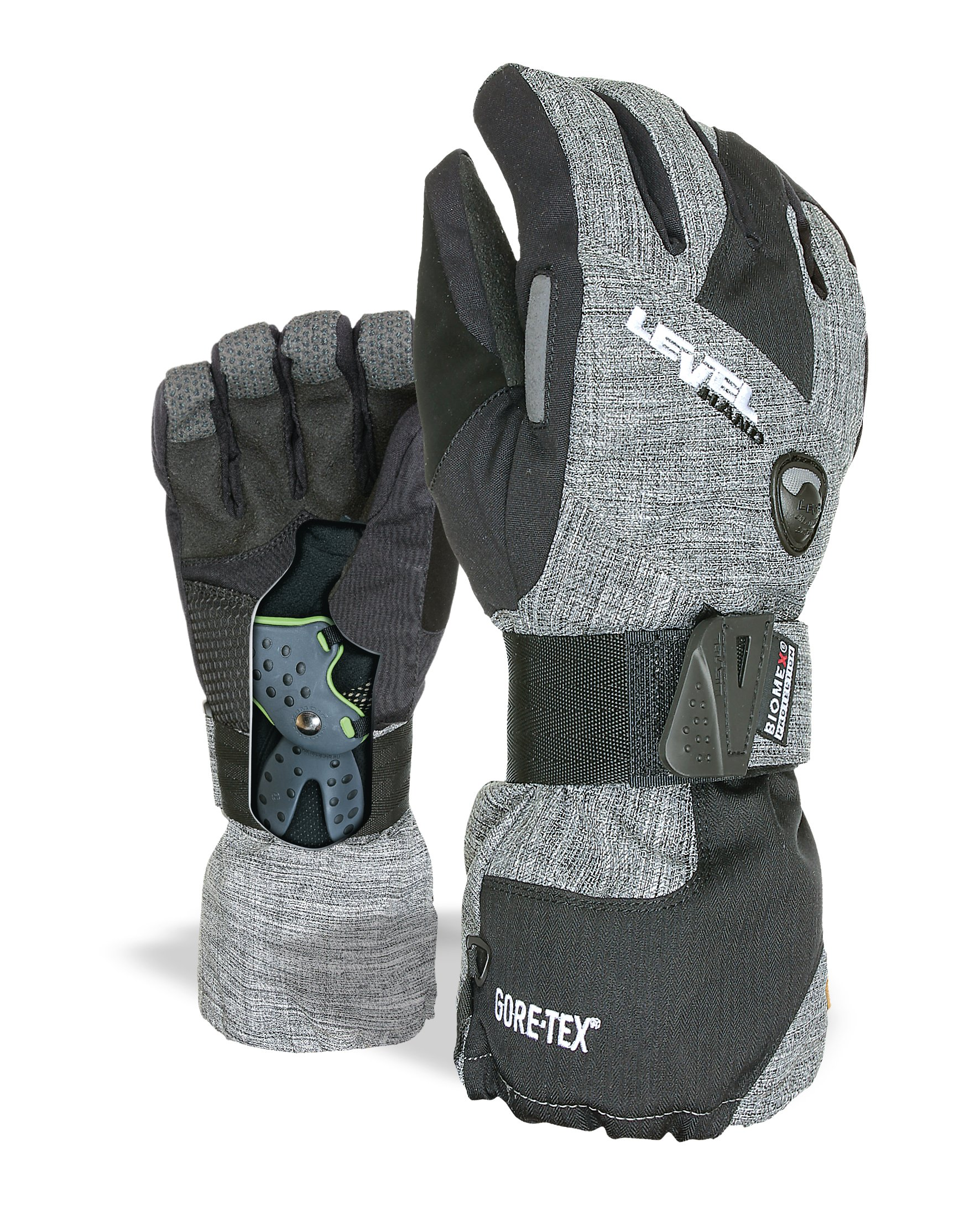 Level Half Pipe GTX Snowboard Protective Gloves with GoreTex Shell, BioMex Integrated Wrist Guards, ThermoPlus Liner (Anthracite, Large (9.0 in))