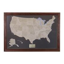 Push Pin Travel Maps Personalized Earth Toned US with Solid Wood Cherry Frame and Pins - 27.5 inches x 39.5 inches