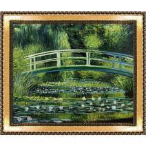 "overstockArt Japanese Bridge with Verona Gold Braid Framed Oil Painting, 28.75"" x 24.75"", Multi-Color"