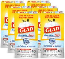 Glad Tall Kitchen Drawstring Trash Bags – ForceFlexPlus 13 Gallon White Trash Bag, OdorShield – 40 Count Each (Pack of 6)