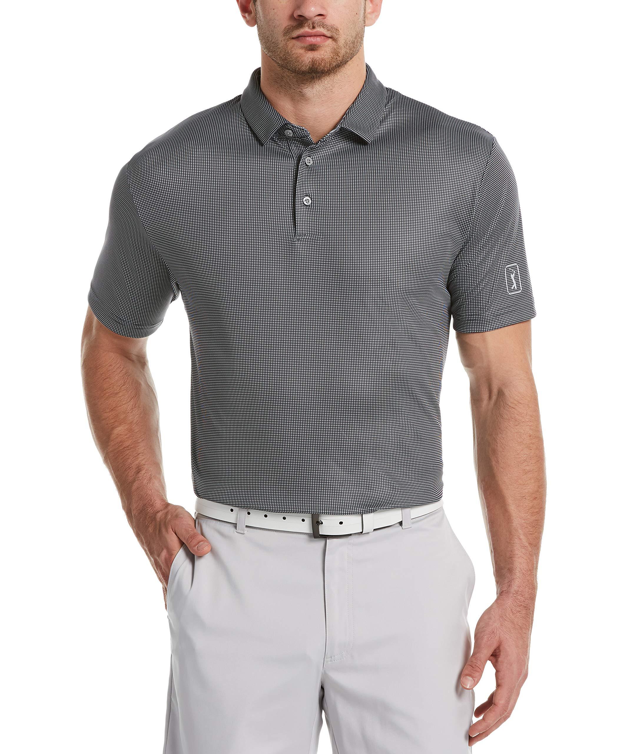 PGA TOUR Men's Mini Gingham Print Short Sleeve Golf Polo Shirt