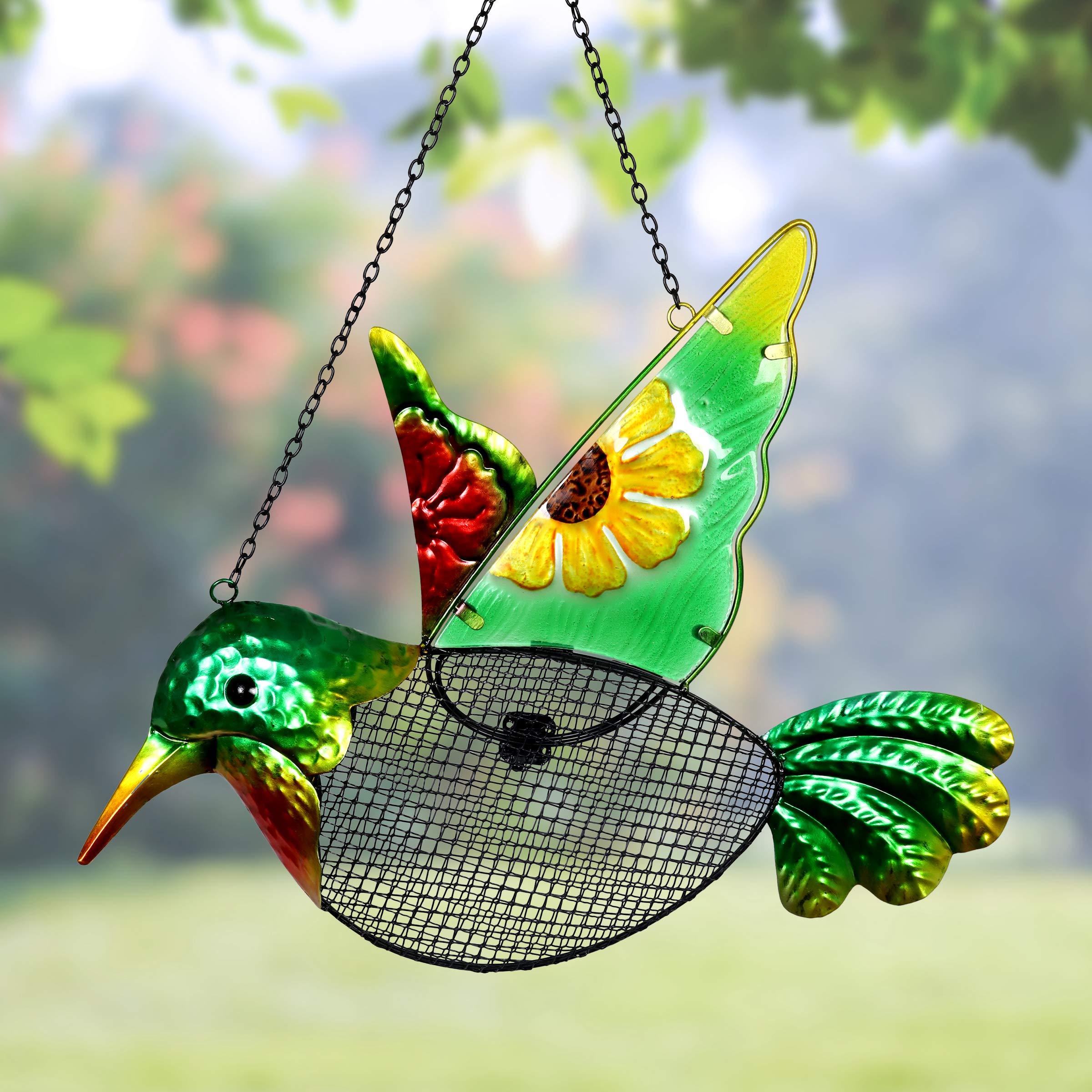 Exhart Metal Hummingbird Hanging Bird Feeder w/Metal Mesh Seed Basket – Features Sunflower Painting on Green Hummingbird w/Metal Embossing Design, Garden Art Metal Bird Feeders, 15 x 18 Inches