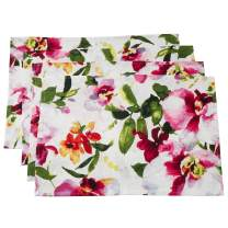 "SARO LIFESTYLE 1618.M1420B Fiore Collection Printed Floral Design Placemats (Set of 4) 14"" x 20"" Multi"