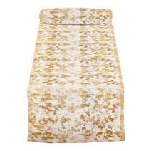 "SARO LIFESTYLE Linen 1385 Bottega Collection Foil Print Design Table Runner, 15 x 72-Inch, Gold, 15"" x 72"""