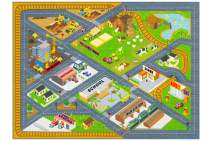 "KC Cubs Playtime Collection Country Farm Road Map with Construction Site Educational Learning Area Rug Carpet for Kids and Children Bedroom and Playroom (3' 3"" x 4' 7"")"