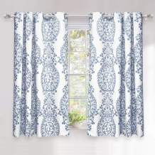DriftAway Samantha Thermal Room Darkening Grommet Unlined Window Curtains Floral Damask Medallion Pattern 2 Panels Each 52 Inch by 54 Inch Blue