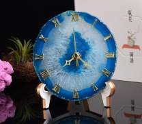 JIC Gem Natural Agate Crystal Stone Clock Home Decoration Best Gift for Desk and Bedroom 12-13 cm