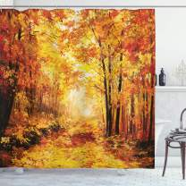 """Ambesonne Country Shower Curtain, Pale Shaded Autumn in The Forest Pastoral Calm Simple Life Nature Paint Away Art, Cloth Fabric Bathroom Decor Set with Hooks, 75"""" Long, Orange Brown"""