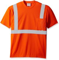 "Ironwear 1805-O-3-LG ANSI Class 2 Polyester Crew Neck SAFETY Shirt with Pocket & 2"" Silver Reflective Tape, Orange, Large"