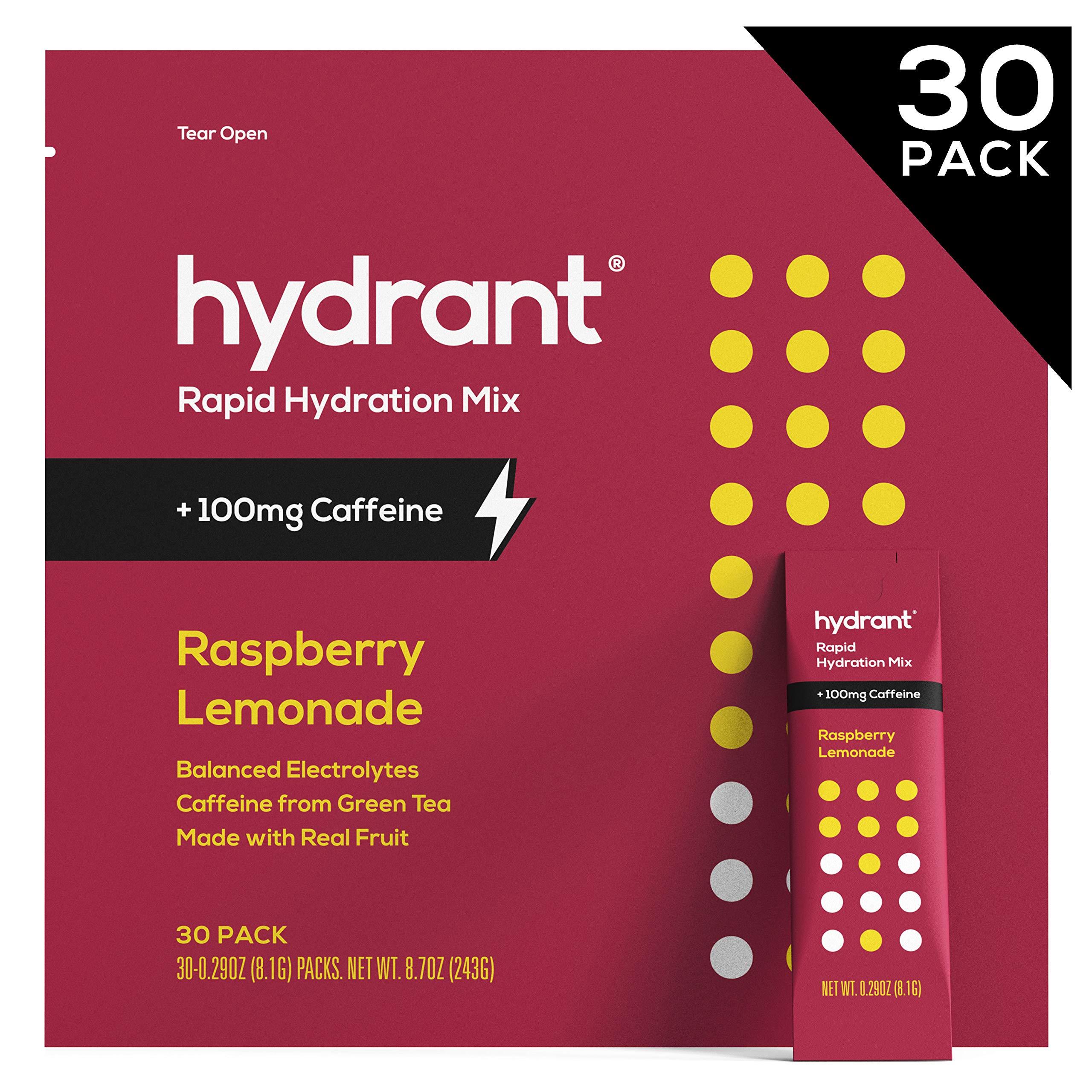 Hydrant Caffeine Electrolyte Powder, Electrolyte Water, Hydrate Powder Packets, Dehydration Recovery Drink Blend, Vegan, 30 Day Supply, Raspberry-Lemonade