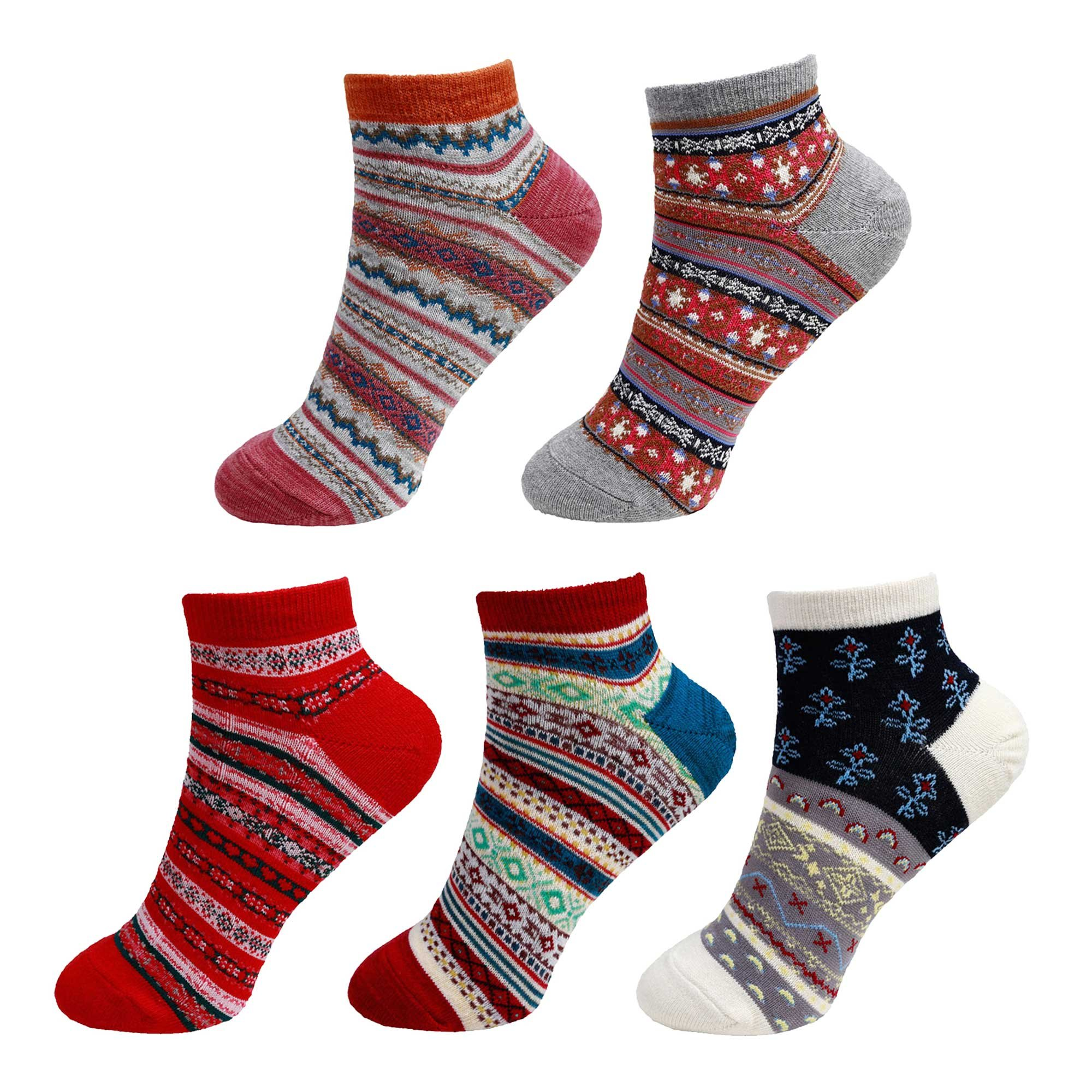 Women's Vintage Style Knitted Colorful Cotton Anklet Socks -5C, Size M/L - 5 prs
