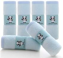 Bamboo Baby Washcloths - Hypoallergenic 2 Layer Ultra Soft Absorbent Bamboo Towel - Newborn Bath Face Towel - Natural Reusable Baby Wipes for Sensitive Skin - Baby Registry as Shower (Blue)