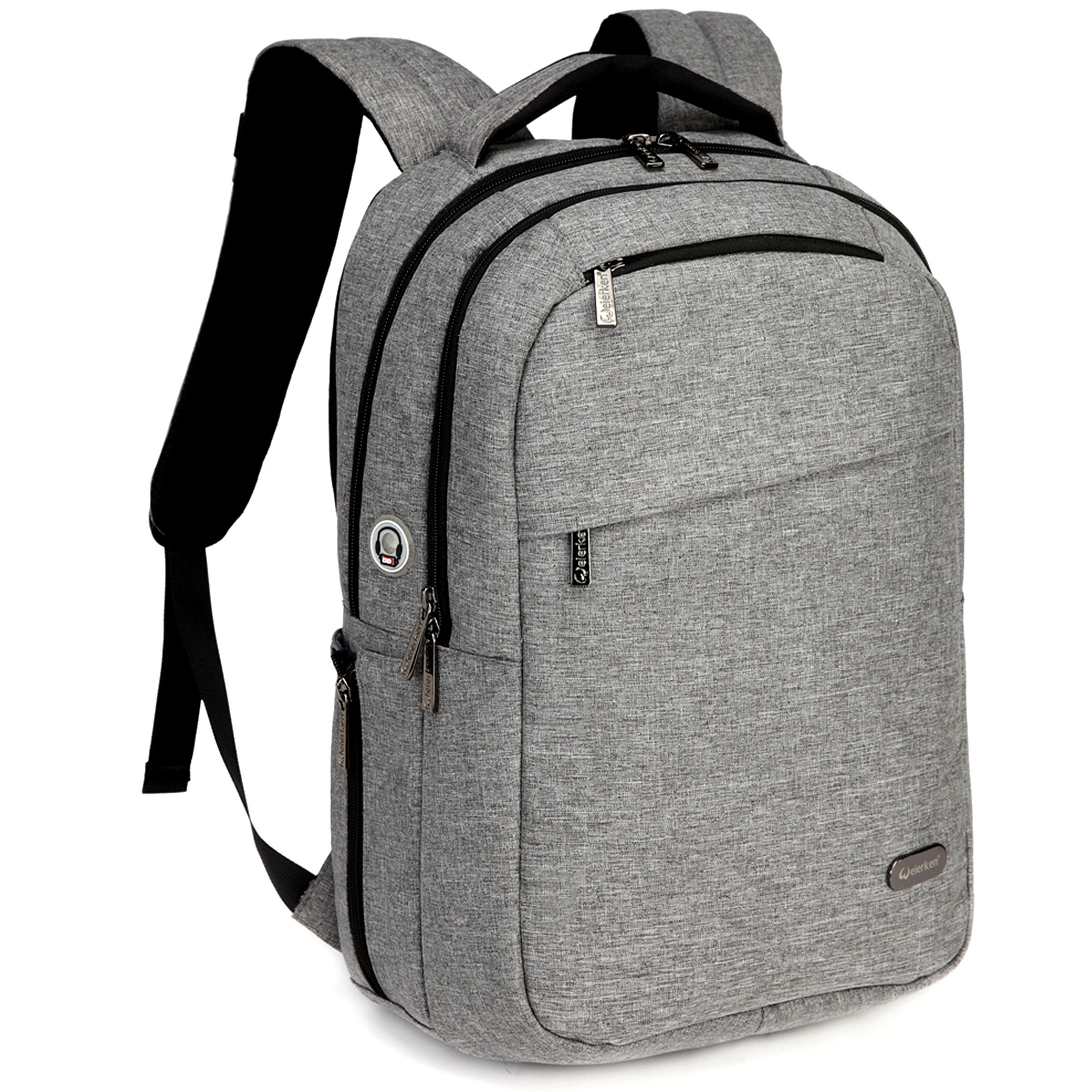 Lightweight Laptop Backpack, Slim Computer Bag, Waterproof College School Daypack, Eco-Friendly Travel Shoulder Bag with USB Charging Port,Fits Under 17 and 15.6 Inch Laptop,(Gray)