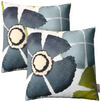 Modway Outdoor Indoor Two All Weather Patio Throw Pillows in Botanical