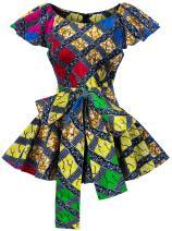 Shenbolen Womens Dashiki Tops Sleeveless Summer African Printed Slim Fit Shirts Blouse