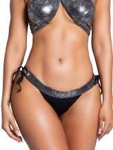 Yandy Metallic Snake Waistband Tie Sides Black Crotch Panel Cheeky Swimwear Brazilian Bottom