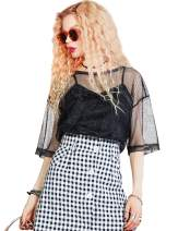 Elf Sack Summer Women Mesh See Through T-Shirts, Black Simple High Low Womens Tops Round Neck Hollow Out Tees Shirt Female