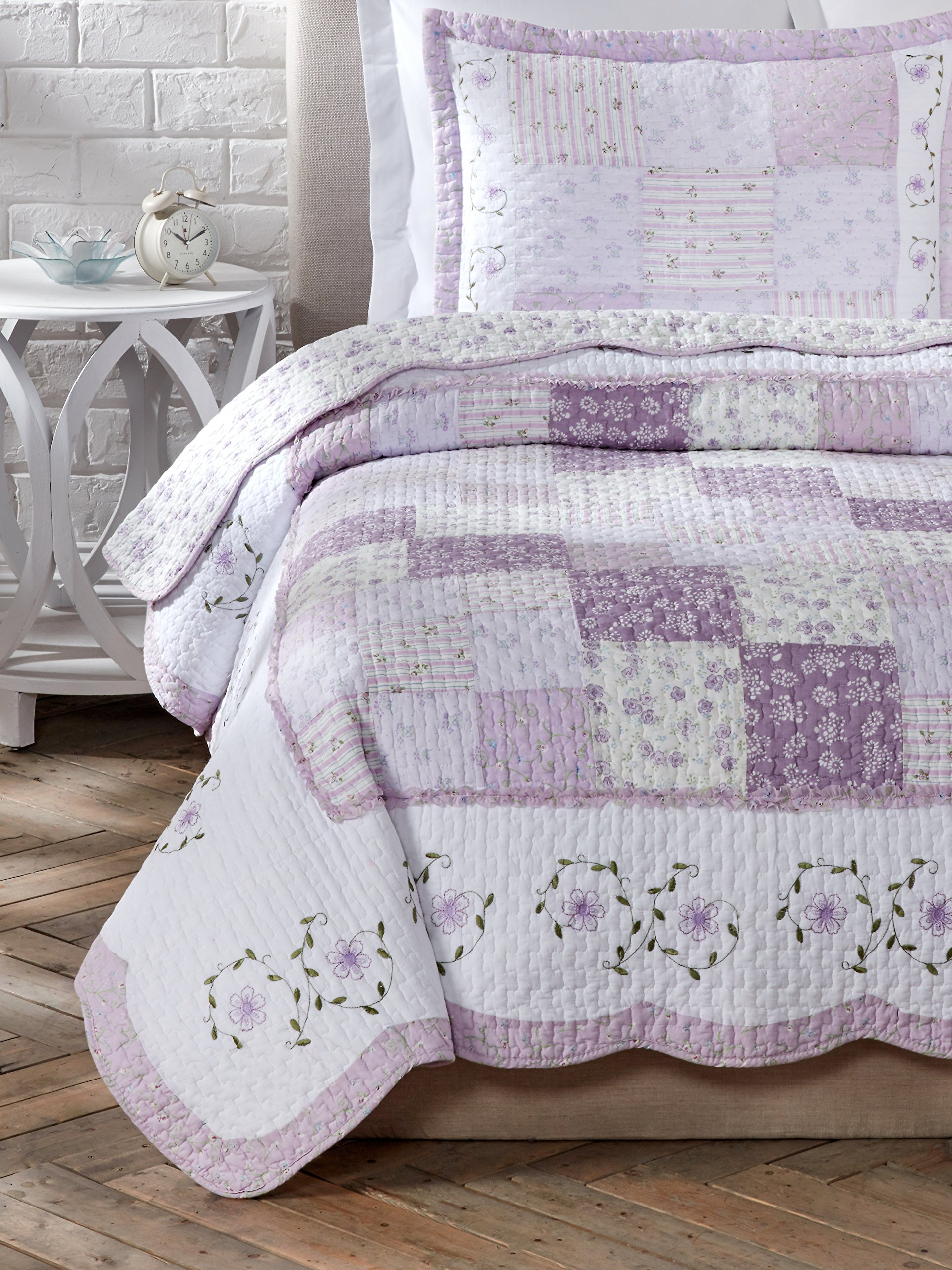 Cozy Line Home Fashions Size 3 Piece Love of Lilac Cotton Quilt Set, Full/Queen