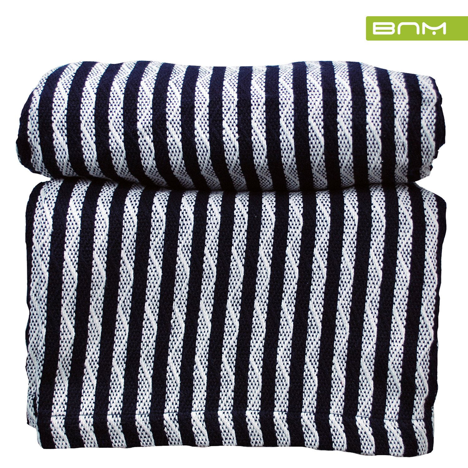 Striped Full/Queen Cotton Throw Blanket, Breathable Thermal Bed/Sofa Blanket Couch, Snuggle in These Super Soft Cozy Cotton Blankets - Perfect for Layering Any Bed, Navy Blue/White