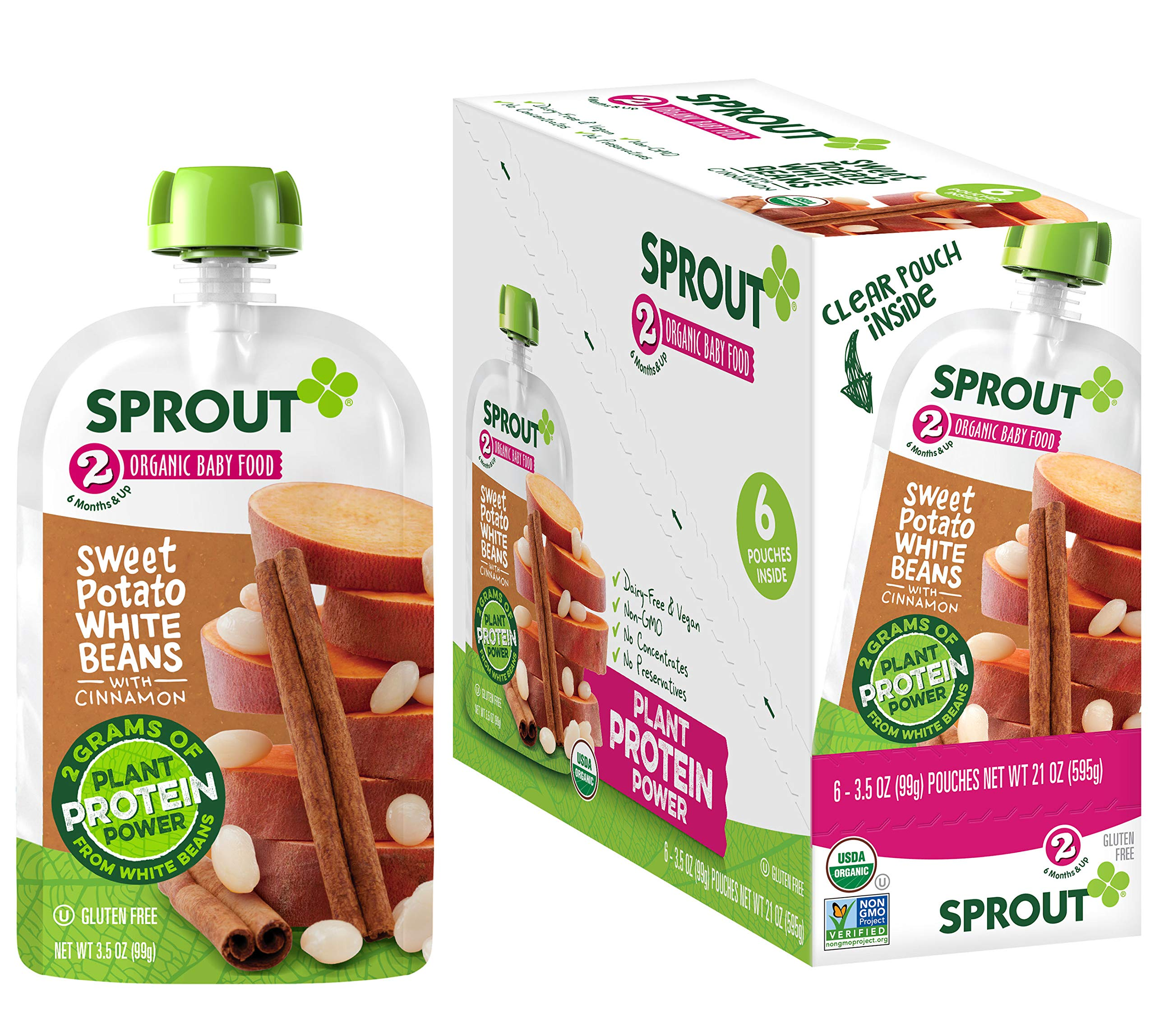 Sprout Organic Stage 2 Baby Food Pouches with Plant Powered Protein, Sweet Potato White Bean w/ Cinnamon, 3.5 Ounce (Pack of 12)