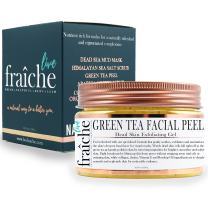 Live Fraiche 24k Gold Brightening Facial Peeling Gel Green Tea - 4.23oz -Secret Cure to Clogged Pores -Gentle Deep Exfoliator Key to Remove Dead Skin & Dirt for forever flawless clearer younger skin
