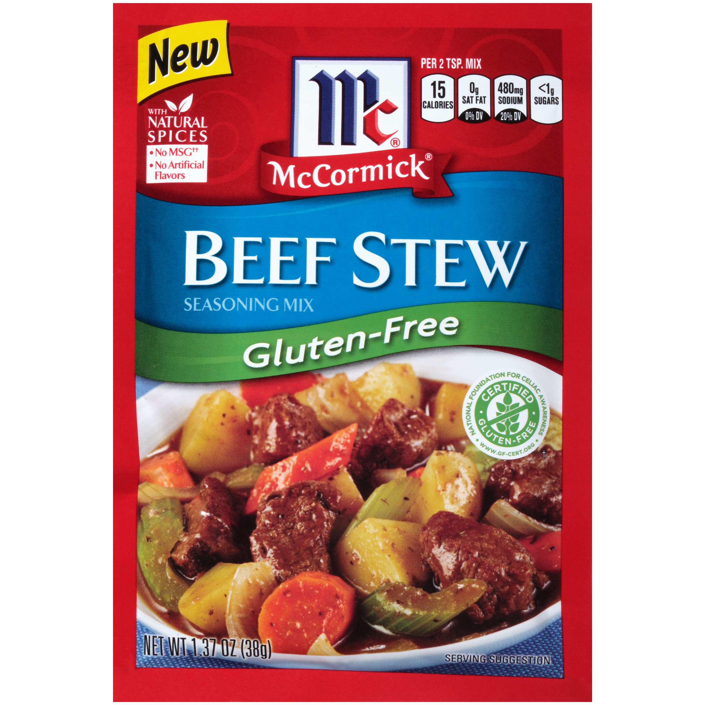 McCormick Gluten Free Beef Stew Seasoning Mix, 1.37 Ounce (Pack of 12)