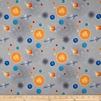 Riley Blake Designs 0587870 Riley Blake Out of This World with NASA Planets Gray Fabric by The Yard