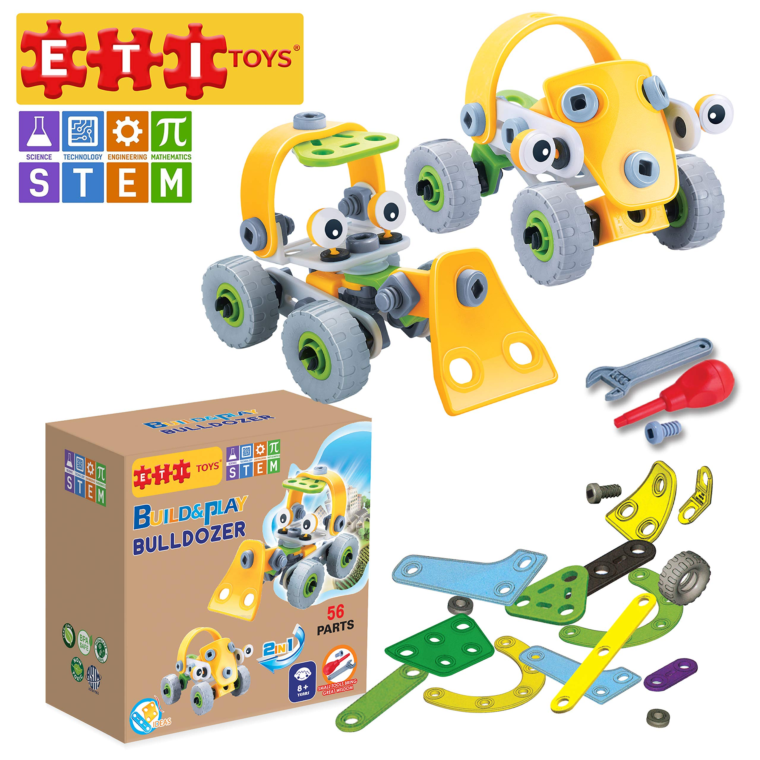 ETI Toys, STEM Learning, 56 Piece Lil Engineers Build & Play Bulldozer and Truck Building Blocks. 100 Percent Safe, Creative Skills Development. Gift, Toy for 8, 9, 10 Year Old Boys and Girls