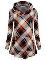 Timeson Women's Long Sleeve Pullover Tunics Tops V Neck Plaid Hooded Sweatshirt With Pocket
