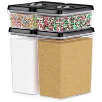DWËLLZA KITCHEN Large Airtight Food Storage Containers - Bulk Food Pantry & Kitchen Storage Containers for Sugar, Flour and Baking Supplies - 4 PC Set, Clear Plastic BPA-Free, Keeps Fresh & Dry