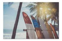 Row of Surfboards Resting on a Rack on The Beach with Palm Trees 9016497 (Premium 1000 Piece Jigsaw Puzzle for Adults, 19x27, Made in USA!)