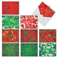 The Best Card Company, Fleur De Noel - 10 Christmas Cards Boxed (4 x 5.12 Inch) - Red, Green Xmas Stationery Assortment M2261