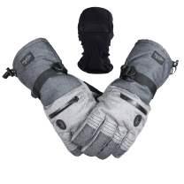 Men Ski Snowboard Gloves Waterproof Cold Winter Melange Glove and Balaclava Set