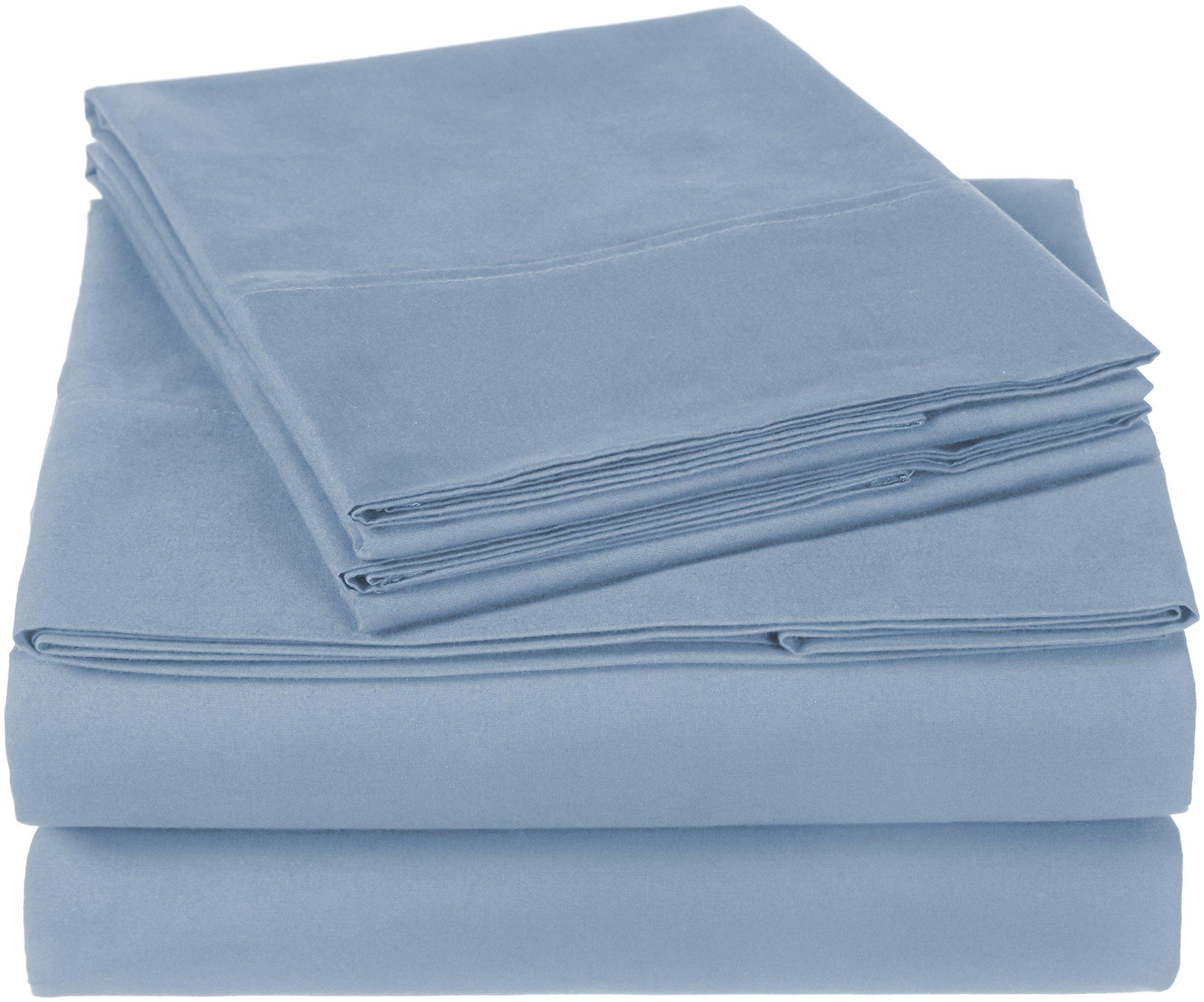 Pinzon 300 Thread Count Organic Cotton Bed Sheet Set - California King, Flint Blue