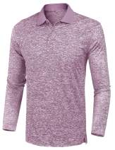 URRU Mens Classic Fit Golf Shirts Dry Fit Long Sleeve Polo Athletic Casual Collared T-Shirt S-XXL