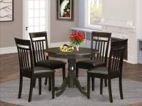 East West Furniture ANCA5-CAP-LC Wooden Dining Table Set- 4 Great Dining Room Chairs - A Lovely Round Dining Table- Faux Leather Seat and Cappuccino Finish Round Wooden Table