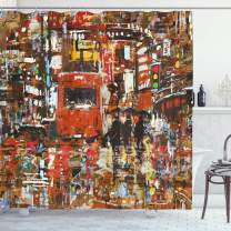 "Ambesonne Fantasy Shower Curtain, Urban Abstract Picture with Tramway and Human Crowd Cityscape Traffic Rush Hour, Cloth Fabric Bathroom Decor Set with Hooks, 75"" Long, Orange Brown"