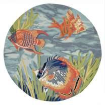 Liora Manne Ravella Coastal Tropical Fish Indoor/Outdoor Round Rug, 8', Blue