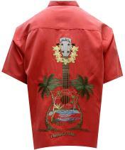 Bamboo Cay Men's Ukulele Island, Embroidered Tropical Style Button Shirt (Large, Tomato)