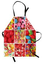 Lunarable Colorful Apron, Collage of Photos with Differents Candies Bonbon Fruity Jellies Lollipops, Unisex Kitchen Bib with Adjustable Neck for Cooking Gardening, Adult Size, Red White