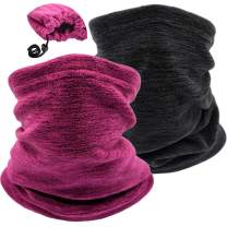 2 Pack Winter Neck Warmer Gaiter Ski Fleece Warm Windproof Face Scarf Cover Mask for Snowboard