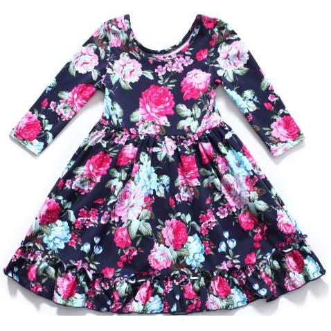 Flofallzique Long Sleeve Girls Dress Vintage Flower Frill Hem Birthday Party Baby Clothes (1, Deep Blue)