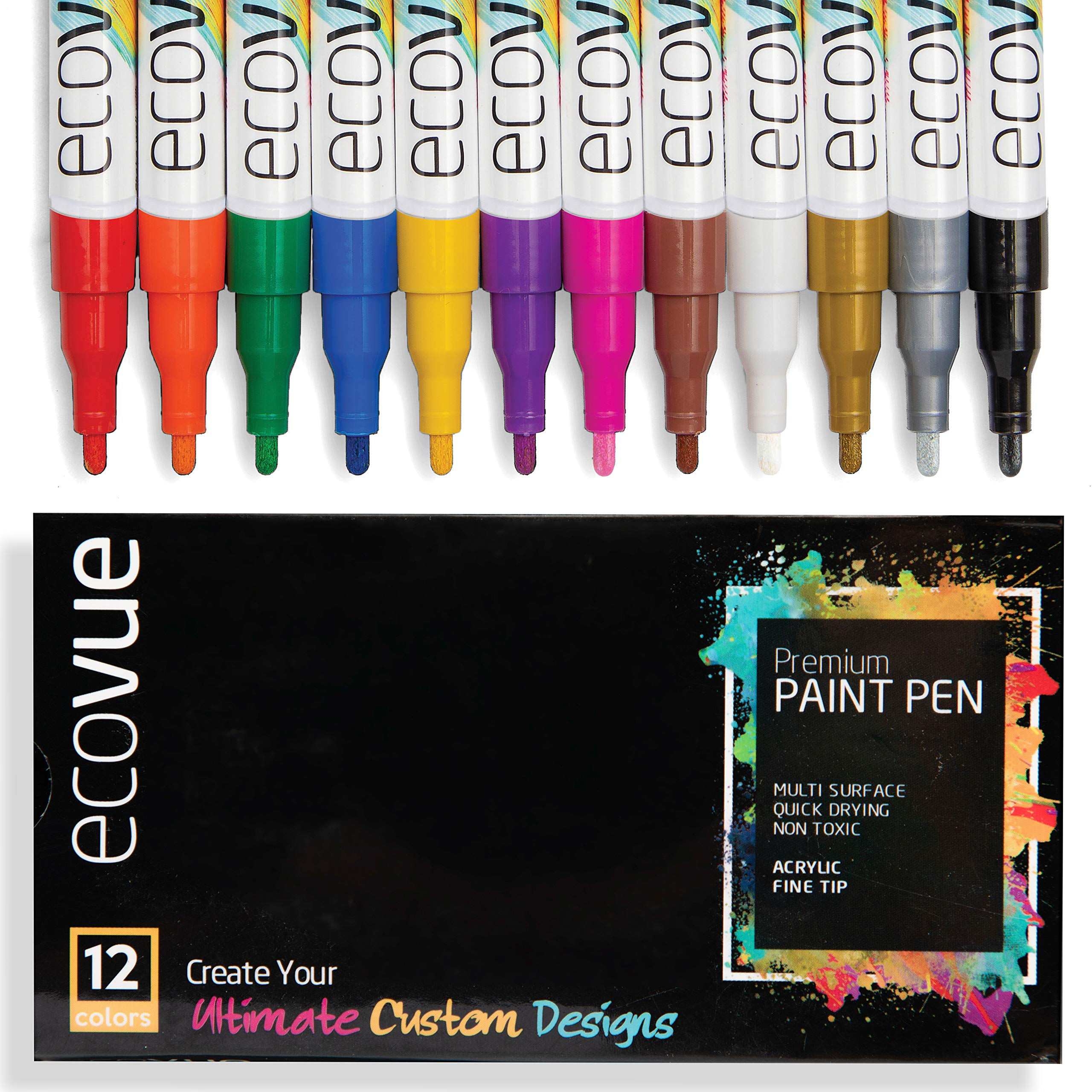 Acrylic Paint Marker Pens Fine Tip in 12 Vivid Fast Drying Colors For Glass, Wood, Mugs, Rock, Metal, Clay